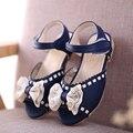 Niñas sandalias de Verano Zapatos de Los Niños Del Bowknot de LA PU de Cuero Suave Plana sandalias de Suela de Zapato de Bebé girls 2016 Niños Niños Zapato