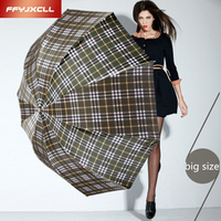 British Style Oversized Lattice Fold Anti UV Sun Rain Umbrella Rain Women Men Stick Outdoor Umbrella
