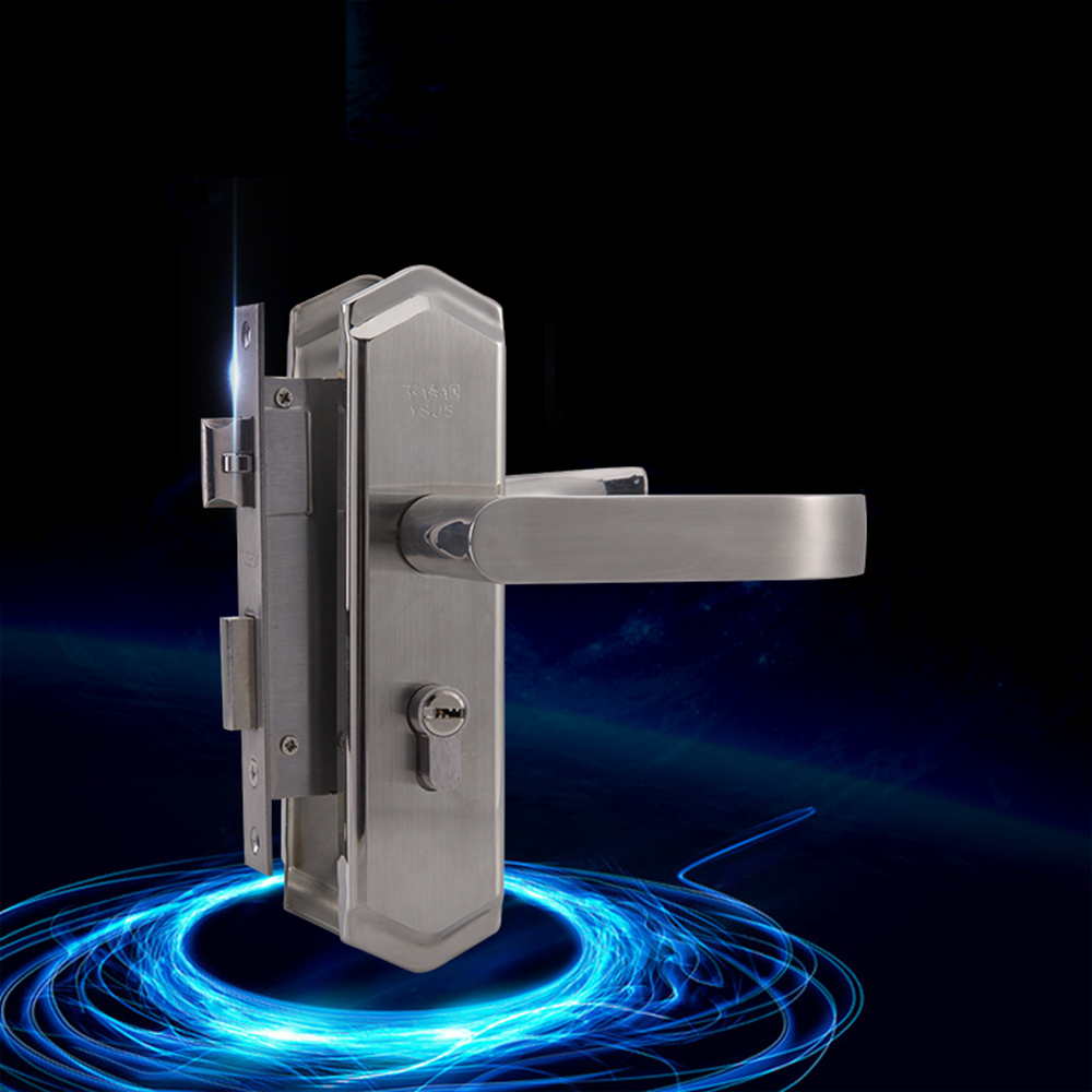 High Quality 304 Stainless Steel Interior Door Handle-lock Living-room 50mm Pitch Row Anti Card Handle Lock 304 stainless steel door suction contact free touch wall toilet room bedroom anti collision magnet