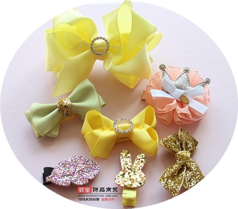 1 dəst yay qız uşaqları cute bowknot saç klipləri pin barrette - Geyim aksesuarları - Fotoqrafiya 4