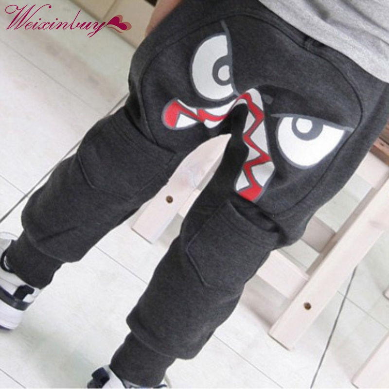 Autumn Kids Boys Girls Printed Angry Face Pattern Pants Kids Toddler Boys Cotton Mid Elastic Harlan Long Pants Trousers 2 Colors spring autumn mid elastic harlan trousers solid kids legging fashion boys girls long pants kids toddler 100% cotton