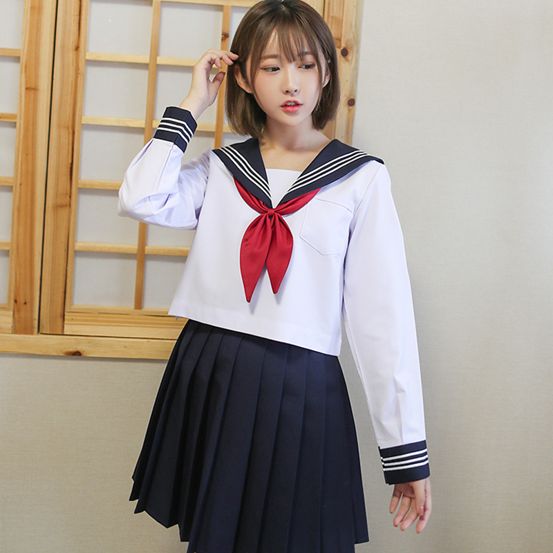 Preppy Style Japan School Uniform Anime Cosplay Schoolgirl Sailor Suit White Shirt Navy Blue Skirt Red Tie Sets