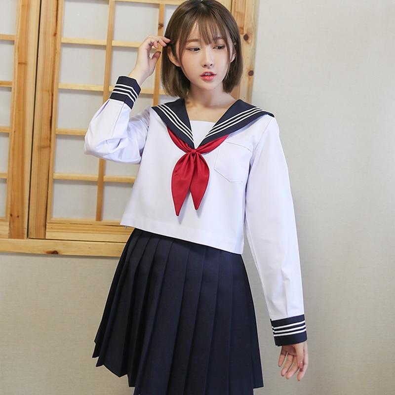 Preppy Style Japan School Uniform Anime Cosplay Schoolgirl Sailor Suit White Shirt Navy Blue Skirt Red Tie Sets