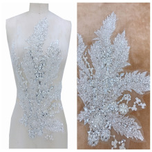 Hand made silver Sew on rhinestones applique on mesh trim crystals patches 49*32cm for wedding dress