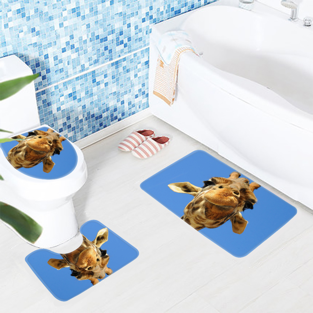 Douchemat Action Us 17 48 3 Stks Badkamer Mat Set Leuke Giraffe Blauwe Achtergrond Patroon Badmat Antislip Douche Mat En Wc Mat Sets In 3 Stks Badkamer Mat Set Leuke
