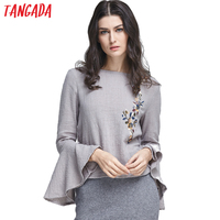 Tangada Fashion Women Sexy Gray Blouses Shirt Floral Embroidery Flare Long Sleeve Backless Casual Cotton Linen Tops 2017 Blusas