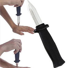 Funny Trick Joke Toy Plastic Fake Spring Retractable Knife Fools Friends For Children Teens
