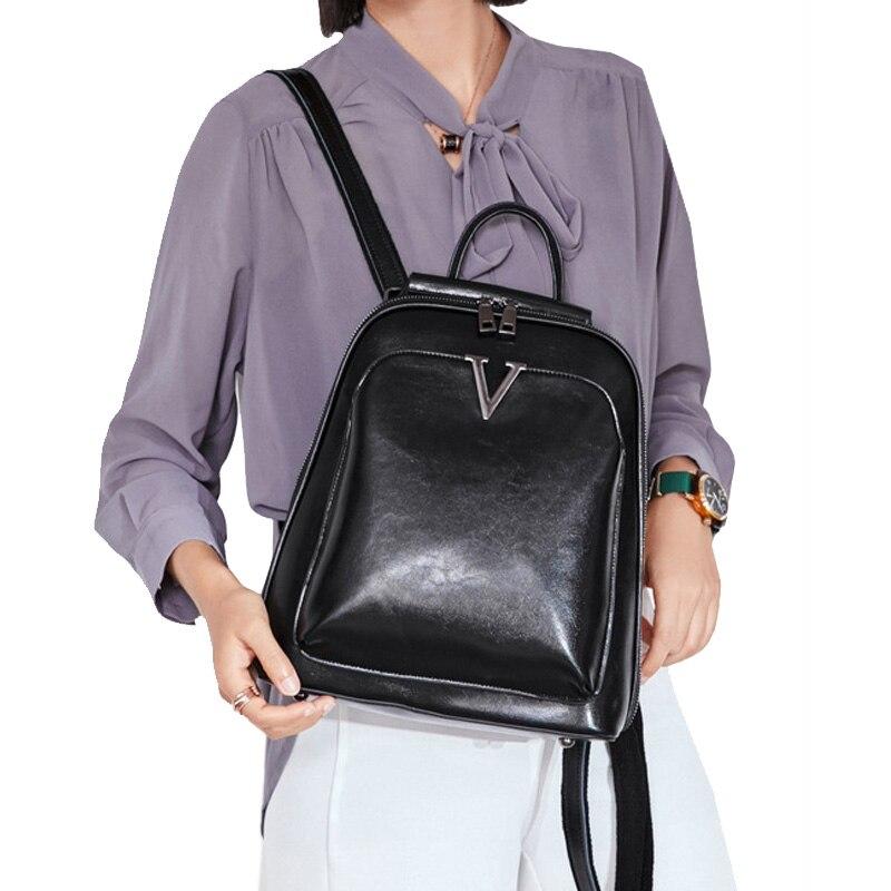 Genuine Leather Women Backpack Cross Body Messenger Shoulder Bags Cowhide School Daypack Fashion Retro Female Rucksack