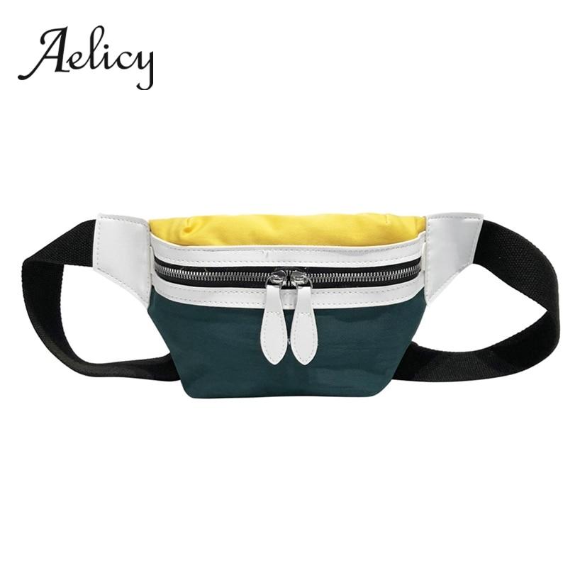 Aelicy Messenger Crossbody Belt-Bag Letter Waist-Pack Fanny-Pockets Female Women Canvas