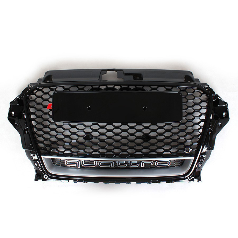RS3 Style Black Honeycomb Mesh Front Grille For Audi A3 S3 2014 2015 Car Styling