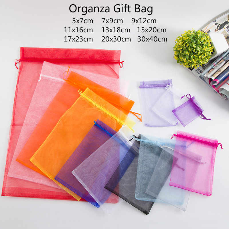10pcs (9 Size) Gift Bag Jewelry Packaging Organza Bag Pouche Jewelry Packing Bag Birthday Party Decor Wedding Christmas Supplies
