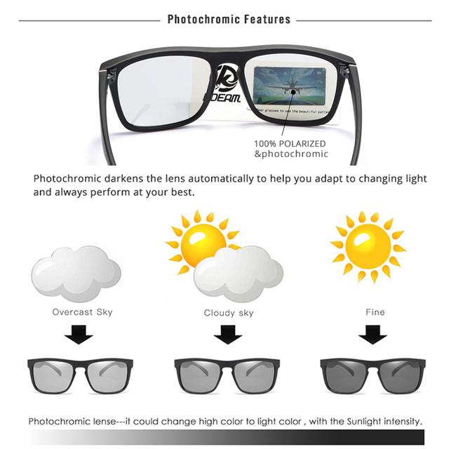 De alta moda gafas de sol polarizadas para hombres y mujeres lentes fotocromáticos