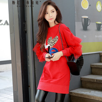 original 2018 brand autumn winter korean fashion pattern long sleeve long ruffle red letter hoodies women wholesale