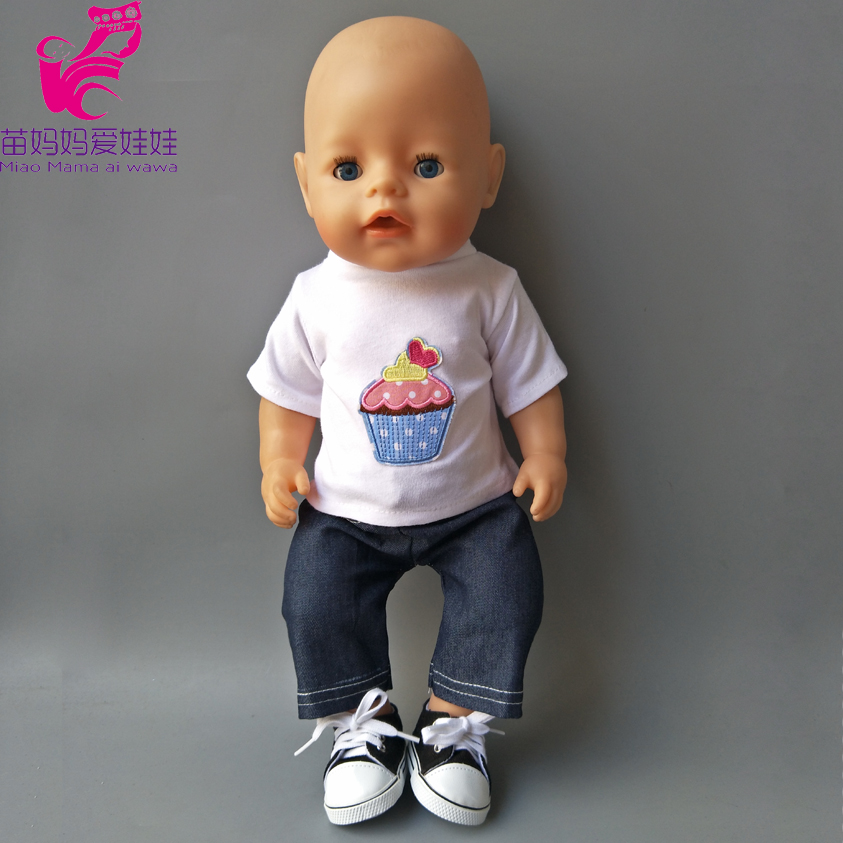 Zapf Baby Born Dolls boy White shirt and Jean pant 18 american girl doll Clothes set accessory 43cm zapf baby born doll cute pink princess dress with hat and underwear for 18 american girl doll clothes baby gift toy