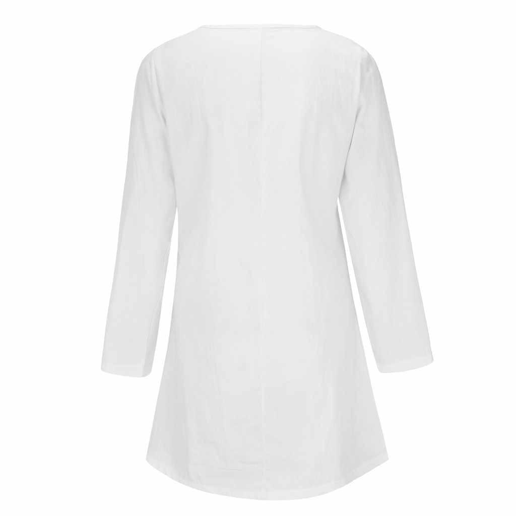 Плюс размер льняная рубашка женская летняя Осенняя блузка 2019 ZANZEA рубашки с длинными рукавами Женская Кнопка Асимметричная Blusas туника с капюшоном