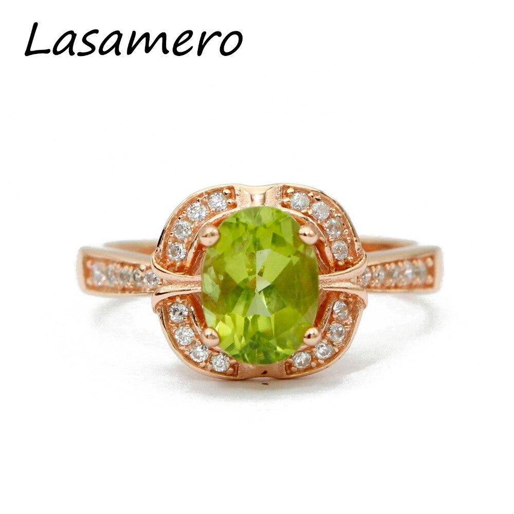 LASAMERO 8 * 6mm Peridot obljetnica prsten Gemstone Solid 925 - Fine nakit - Foto 1