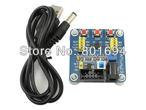 ATtiny13 Development Board AVR Mini System Learning Board with USB Cable