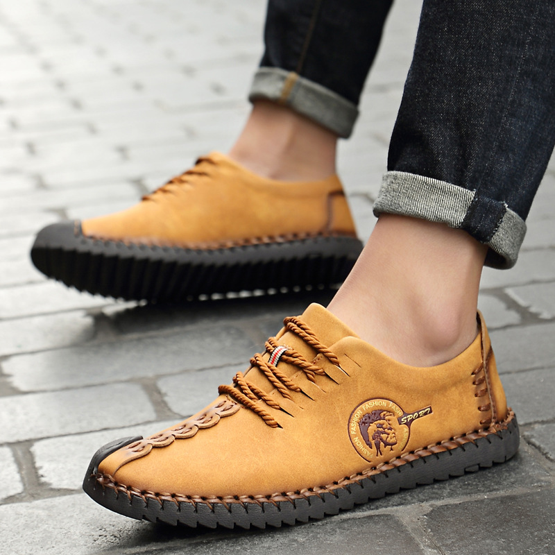 Men Casual Shoes Leather Loafers Men Summer Slip on Shoes Moccasins British Comfortable Spring Fashion Boat Shoes QET620