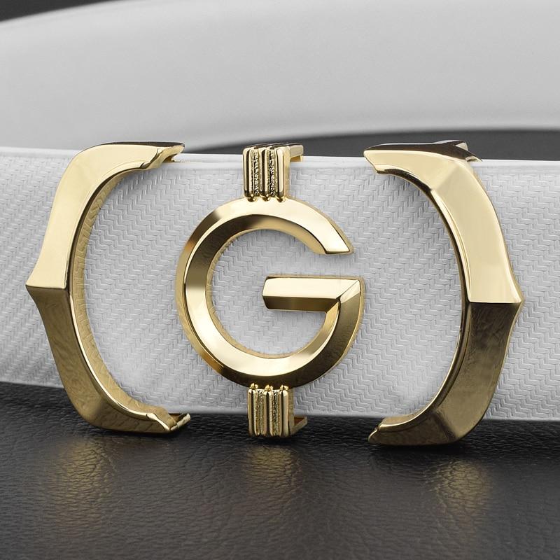 Designer belts men high quality genuine leather fashion g belt men luxury brand Cowskin casual white Waist Strap ceinture homme