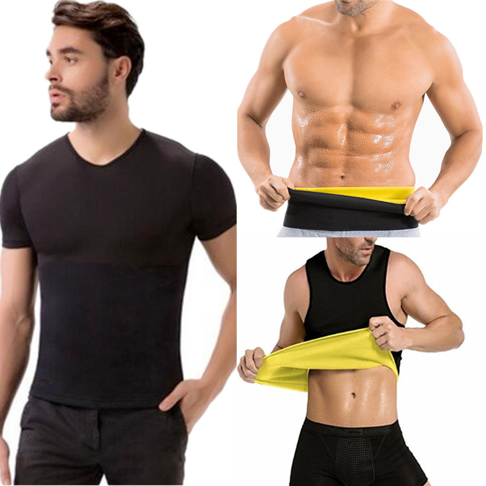 76d031a793f26 Men s Sweat Vest Body Shaper Shirt Hot Thermo Slimming Sauna Suit Weight  Loss Black Shapewear Ultra Neoprene Waist Trainer Belts-in Shapers from  Underwear ...