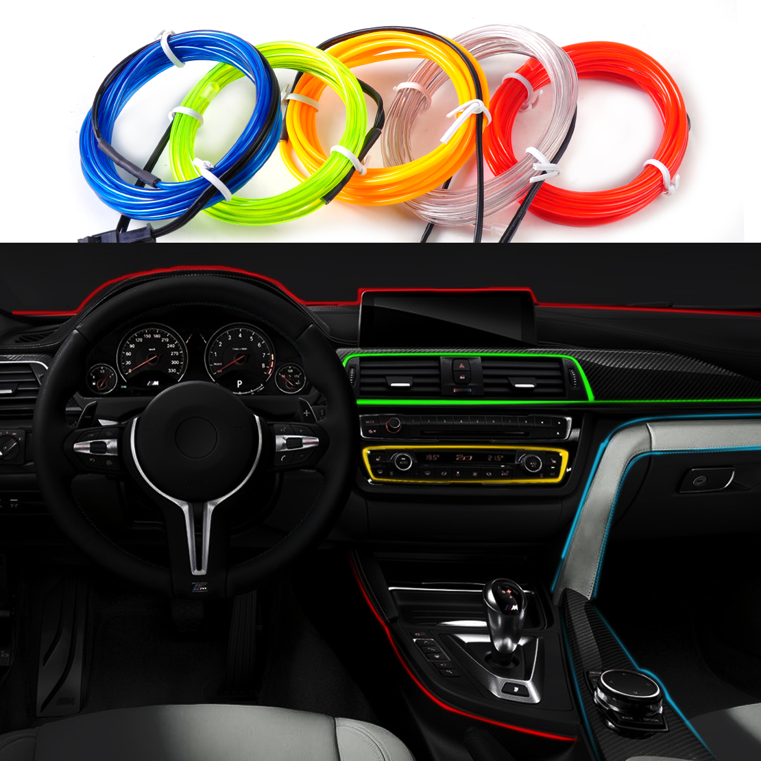 DWCX Car Interior 2m EL-Wire Flexible Decorative Atmosphere Cold Neon light Lamp Strip Tape with 12V DC Cigarette Lighter jurus hot sale led 1m 2m 3meters 5m neon light car decor lamp flexible el wire rope tube waterproof strip with 12v inverter