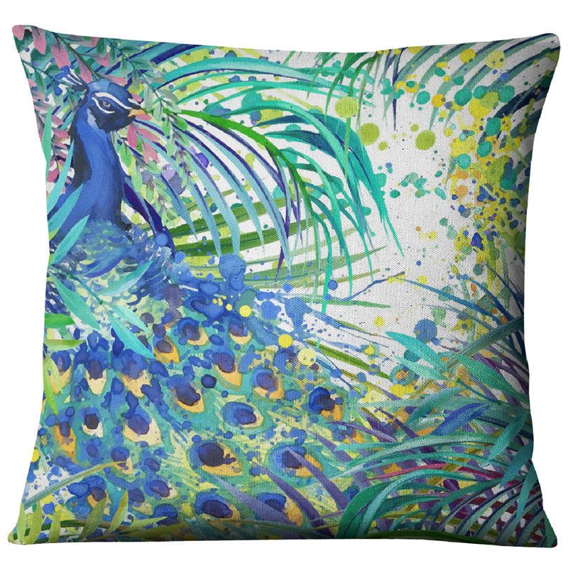 Image 4 - Hand painted Watercolor Printed Linen Cushion Cover  Animals Plants Flamingo Giraffe Throw Pillowcase Home Decor Sofa Decoration-in Cushion Cover from Home & Garden