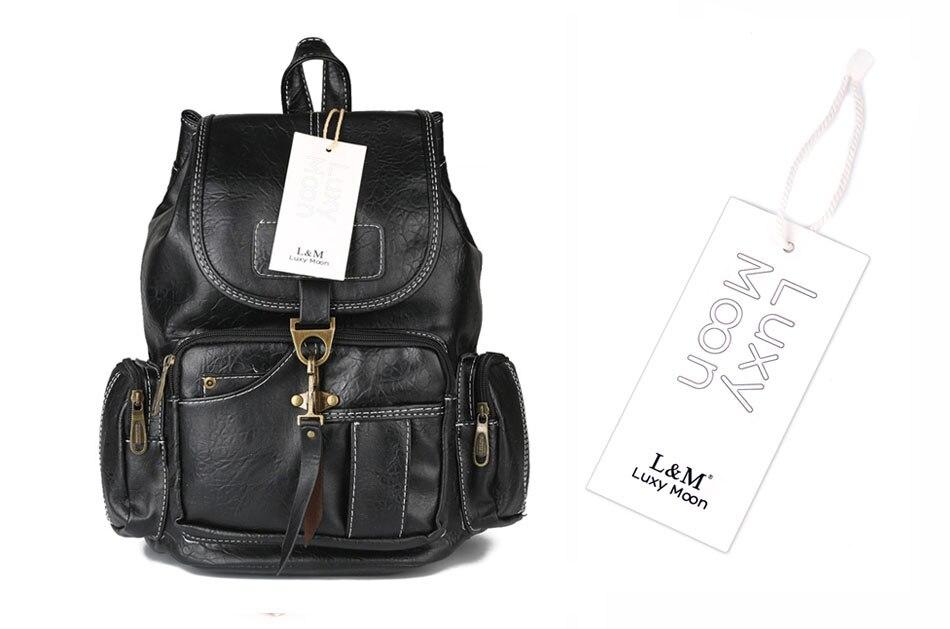 Vintage Women Backpack for Teenage Girls School Bags Large Drawstring Backpacks High Quality PU Leather Black Brown Bag XA658H
