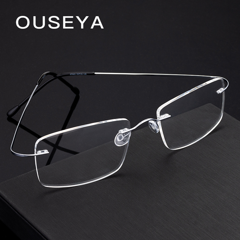 Image 4 - Titanium Men's Rimless Glasses Frame Women Transparent Eyeglasses Optical Myopia Business Clear Spectacle Frame Fashion #CT001-in Men's Eyewear Frames from Apparel Accessories