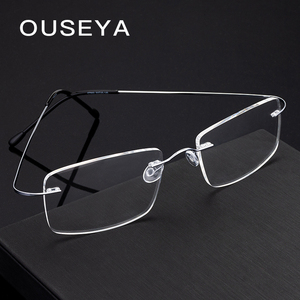 Image 4 - Titanium Mens Rimless Glasses Frame Women Transparent Eyeglasses Optical Myopia Business Clear Spectacle Frame Fashion #CT001