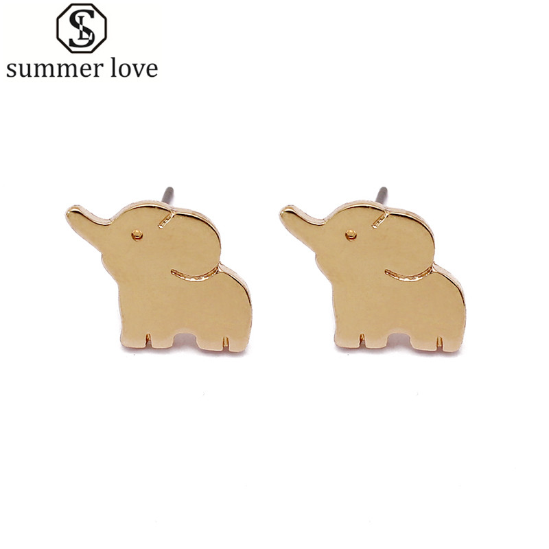 Cute mini brincos lucky elephant earrings stud silver gold color lovely animal earrings for women girl minimalist jewelry