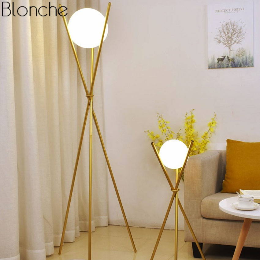 Modern Glass Ball Gold Floor Lamp Tripod Standing Lamps Metal Stand Lights for Living Room Bedroom Light Fixtures Decoration