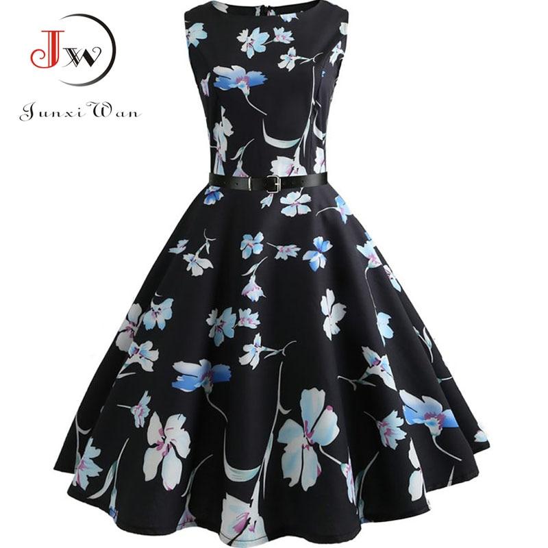Floral Print Summer Dress Women  Vintage Elegant Swing Rockabilly Party Dresses Plus Size Casual Midi Tunic Runway Dress 3