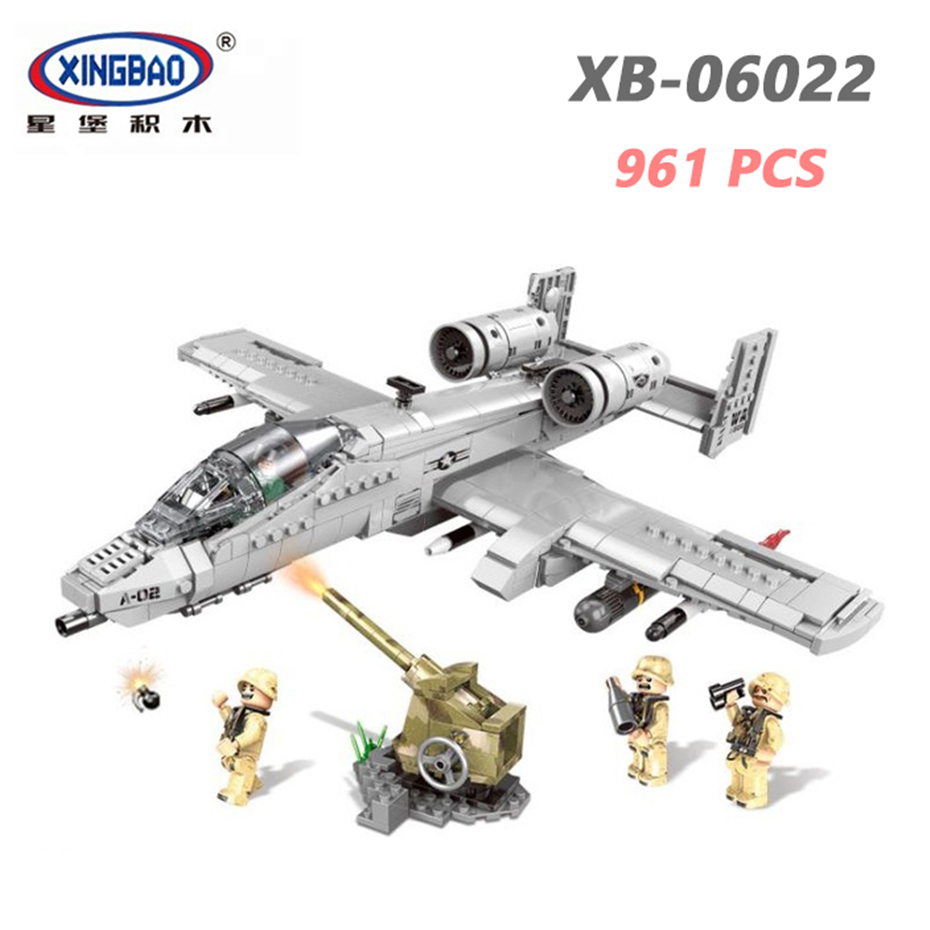 XINGBAO 06022 Military Army Series 961PCS The A10 Fighter Set Building Blocks With Action Figure Plane