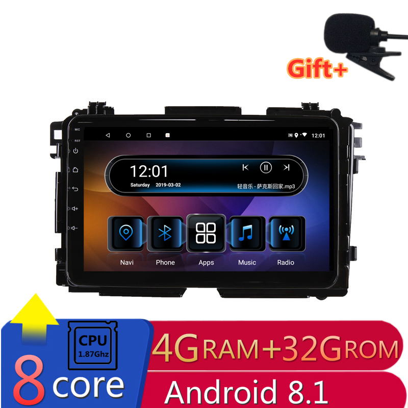 "9"" 4G RAM 8 cores Android Car DVD GPS Navigation For Honda HR-V HRV XRV Vezel 2013 2014 to 2018 audio stereo car radio headunit"