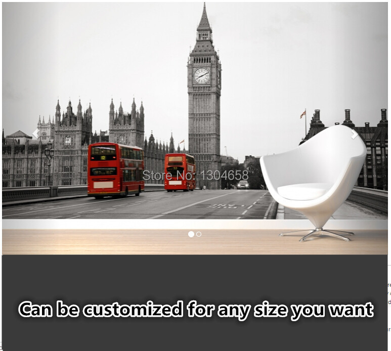 Free shipping custom 3D murals sofa in the living room bedroom background wallpaper <font><b>Black</b></font> and White Big Ben Mural silk fabric