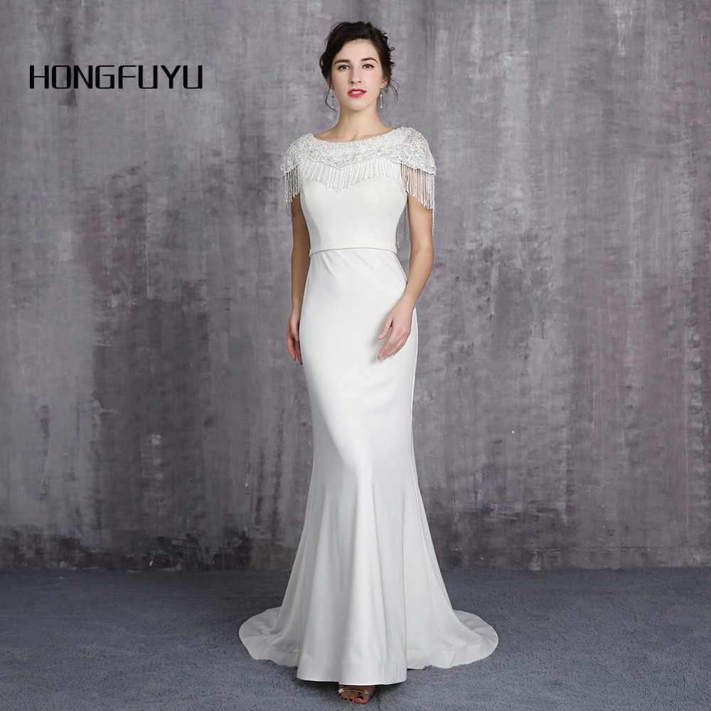 eed14a35f1c 100% Реальный образец элегантный овальным вырезом Кепки рукава Длинные  платье для выпускного вечера es 2019