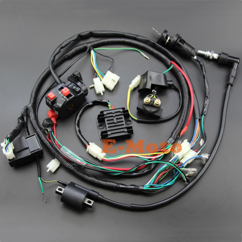 medium resolution of 200cc 250cc quad complete electrics electrics harness cdi ignition coil d8ea solenoid rectifier zongshen lifan loncin