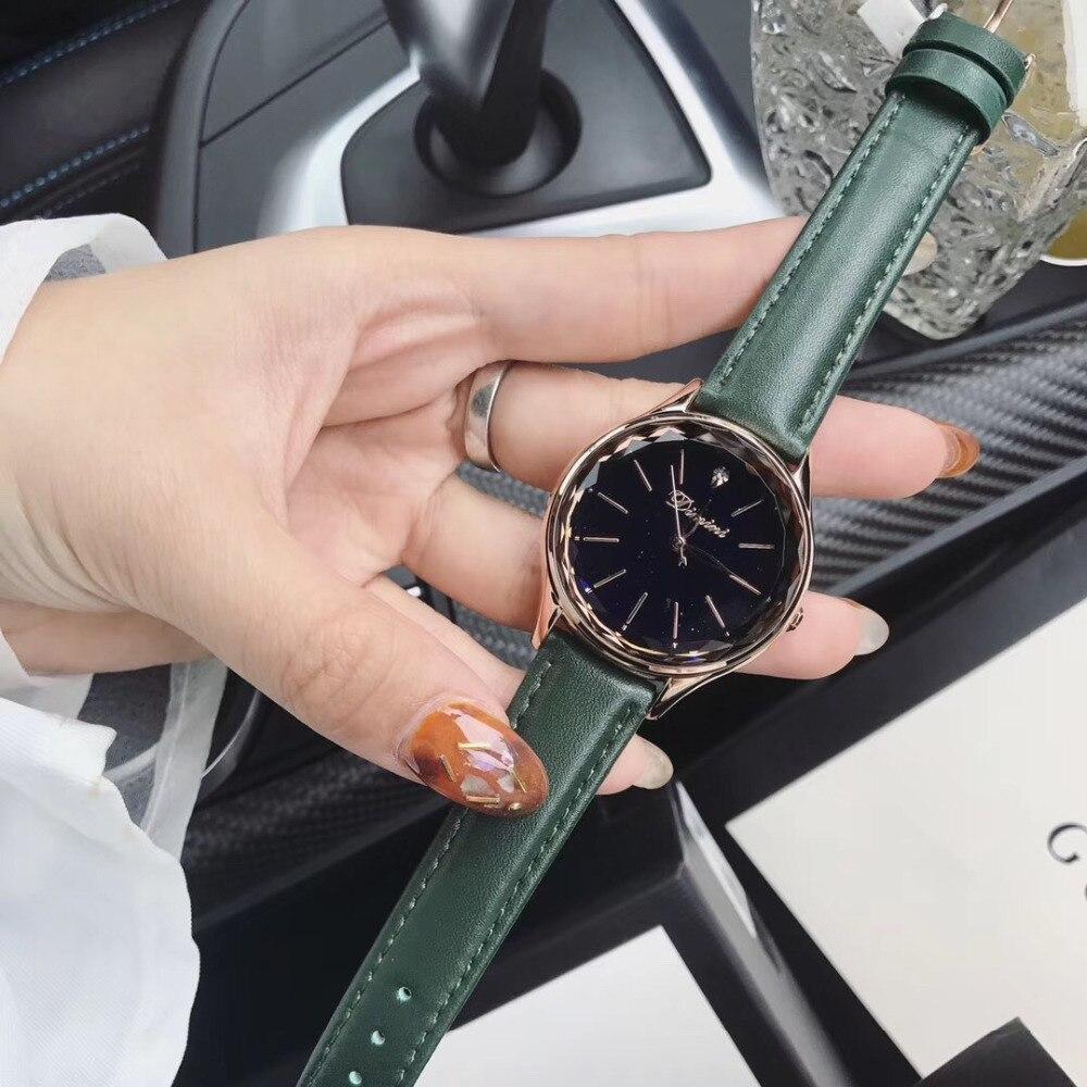 Mode bonbons couleurs vrai cuir montres pour femmes Multi coupe verre cristal montre étanche filles étudiants montre-bracelet Quartz