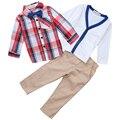 Muchachos del otoño traje de caballero, muchachos determinados de la ropa, capa + shirt + tie + pants de cuatro piezas, niños traje de moda para 2-8Y niños