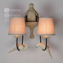 American Country Retro Wall Lamp Nordic Bird Abajur De Parede Vintage Industrial Lighting Home 2 Head Bedrrom Luminaire 110 220V