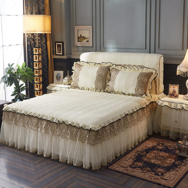 Roza modro siva vijolična bombažna čipka Princess set posteljna - Domači tekstil