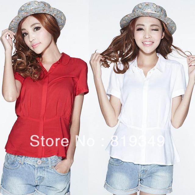 FREE SHIPPING 2013 NEW VANCL Women Blouse Hadara Flared Hem Shirt 100% Viscose Brief Elegant Fashionable Solid Wear White/Red