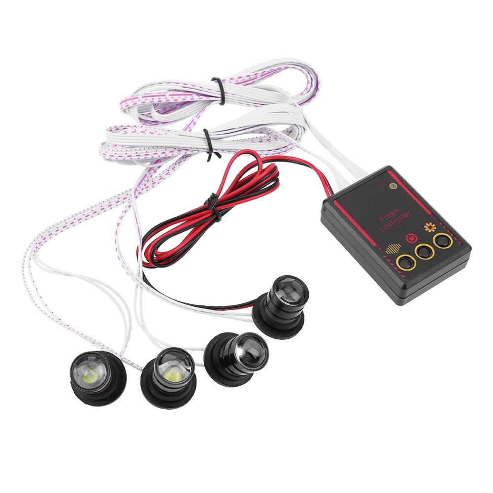 Universal Waterproof 4 LED Car Truck Strobe Emergency Warning Flash Light Eagle Eye Headlight Lamp 12V 4W With Controller