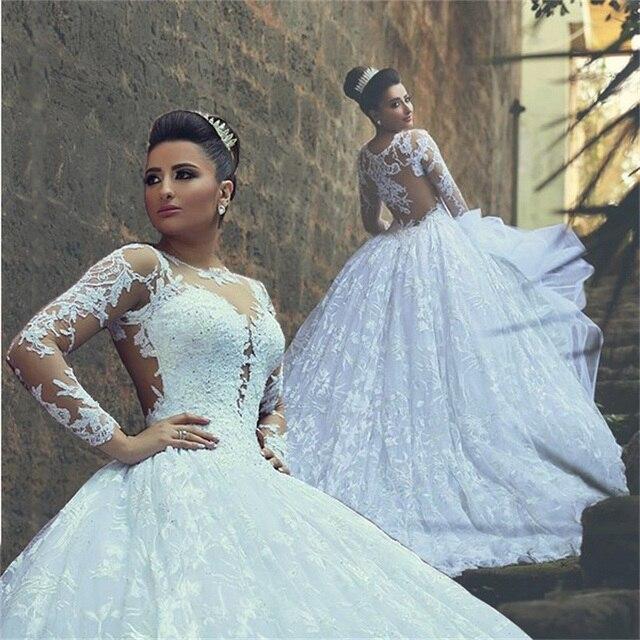 Gorgeous Lace Wedding Dress High Neck Long Sleeve Pincess Ball Gowns Vestido Novia