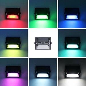 Image 4 - Lumière solaire extérieure double PIR capteur de mouvement solaire alimenté lampe 180 degrés capteur applique murale RGBW LED étanche jardin lumière solaire