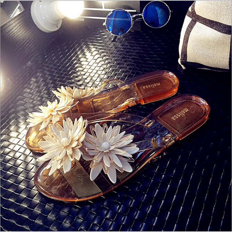 2016 New FASHION Summer Hot Women Sandals With Beautiful Camellia Flower Sweet Flip Flops