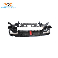 PP car Rear Bumper diffuser lip LED light four doors with muffler tail fit for for 2015 2019 Benz W205 C200 C300 C43 C63 AMG