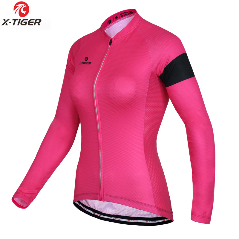 X-Tiger Brand Long Sleeve Bike Wear Uniform Cycling Clothing Autumn 100% Polyester <font><b>Women</b></font> Cycling <font><b>Jersey</b></font> Ropa Ciclismo
