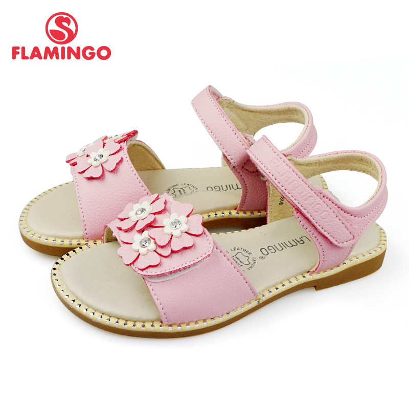 FLAMINGO Brand Applique Summer Hook&Loop Casual Sandals Leather Insole Pricness Outdoor Little Kids Shoes Flat 81S-MLB-0739