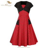 SISHION Summer Style Vintage Polka Dots Dress Two Pieces Set Black Red Plus Size 1950s 60s